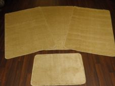 ROMANY GYPSY WASHABLES 4PC SET NON SLIP TRAVELLERS MATS PLAIN LIGHT BEIGE NEW